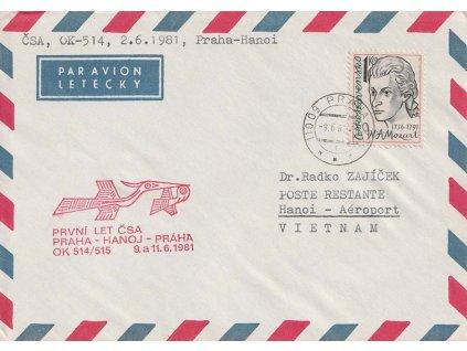 1981, DR Praha, První let ČSA Praha - Hanoj - Praha, dopis