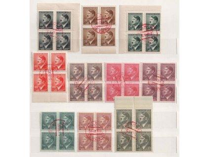 Praha, 12.V.1945, červená razítka, 10 ks 4bloků