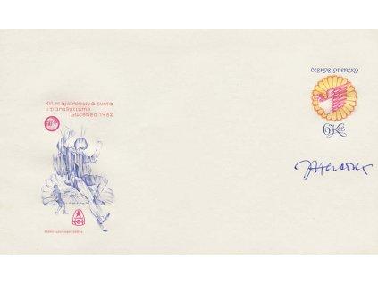 Herčík, podpis na celinové obálce z roku 1982