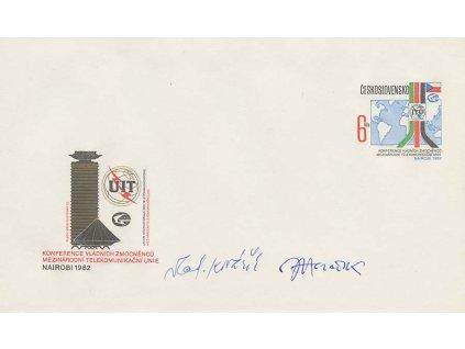 Herčík, Kovařík, podpisy na celinové obálce z roku 1982