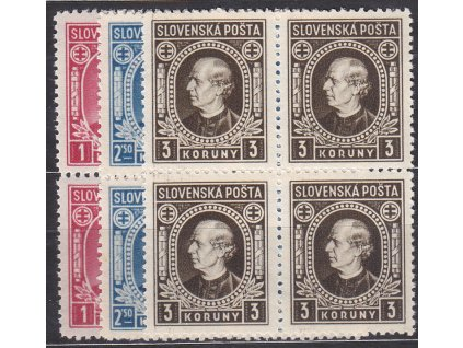 1940, 1-3Ks Hlinka, série s průsvitkou, 4bloky, Nr.30-2Y, **, ilustrační foto
