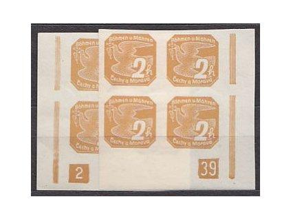 1939, 2h žlutohnědá, roh. 4blok s DČ 2-39, **