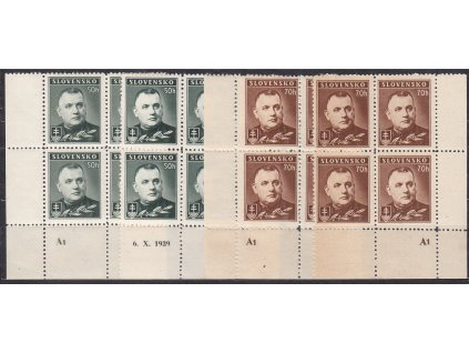 1939, 50-70h Tiso, série, L+P roh. 4bloky s DČ A1, Nr.43-4, **, ilustrační foto