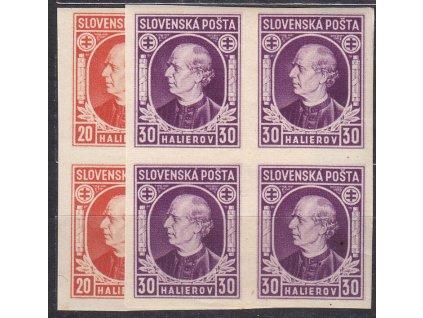 1939, 20-30h Hlinka, nezoubkované, 4bloky, Nr.27-8N, **, ilustrační foto