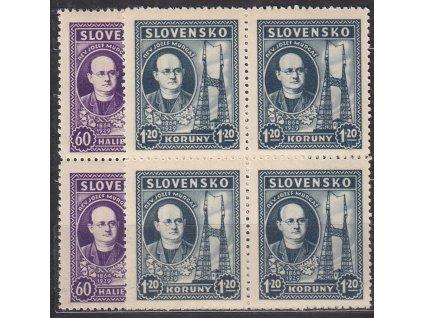 1939, 60h-1.20Ks Murgaš, série, 4bloky, Nr.38-9, **, ilustrační foto
