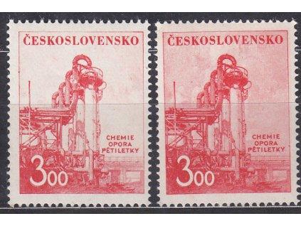 1952, 3Kčs Únor, 2 ks - odstíny pozadí, Nr.635, **
