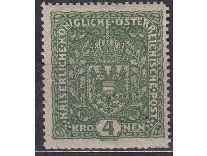 4K tmavě zelená Znak, široká, **, kzy, zn. platná v ČSR
