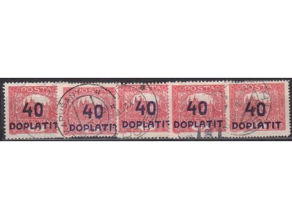 40/15h červená, 5 ks, různé perf., všechny s DV přetisku - tečky v přetisku, každá jiná, Nr.DL30, razítkované
