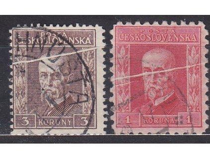 1 a 3Kč TGM, obě zn. se složkou, Nr.198,199, razítkované
