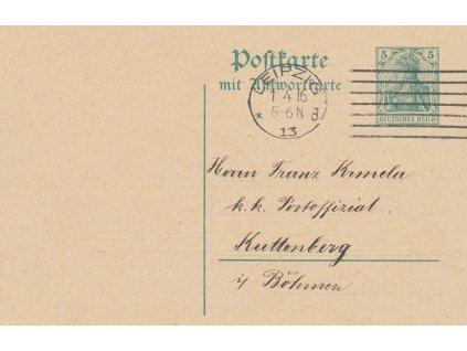 1916, dopisnice 5Pf Germanie (díl) s reklamním přítiskem