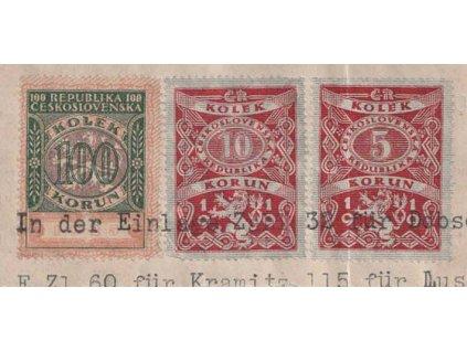 100Kč + 10Kč + 5Kč 1919, výstřižek z listiny, přeloženo přes 5Kč