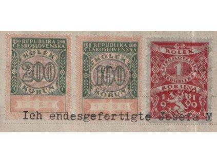 200Kč + 100Kč + 1Kč 1919, výstřižek z listiny, lom