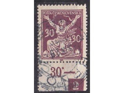 30h fialová, kraj. kus s DČ 2, Nr.153, razítkované