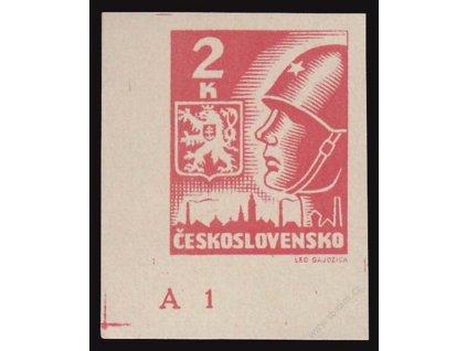 2K Košické, roh. kus s DČ A1 (C), Nr.354, ** , skvrnka