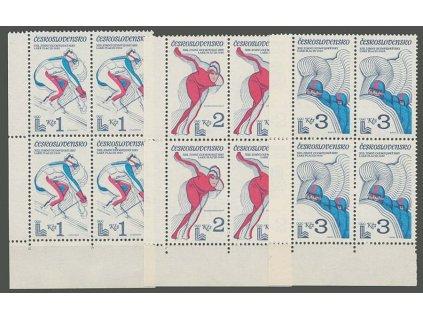 1980, 1-3Kčs OH Lake Plesid, rohové 4bloky, Nr.2415-17, **
