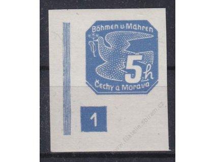 5h modrá, levý roh. kus s DČ 1, široký rám, Nr.NV2, **