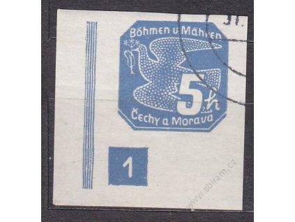 5h modrá, levý roh. kus s DČ 1, široký rám, Nr.NV2, razítkované