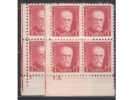 1Kč červená, 2 roh. 4bloky s DČ 1,1A, Nr.260, **, ilustrační foto