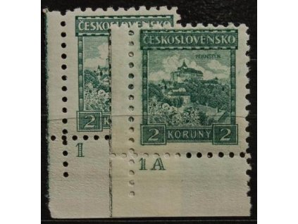 2Kč Pernštejn, 2 rohové kusy s DČ1,1A, Nr.221