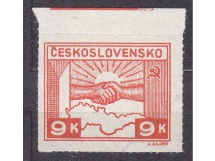 9K Košické, kraj. kus s otiskem lišty na okraji