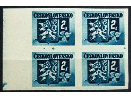 1945, 2K Bratislavská, levý kraj. 4blok s výraznými barevnými skvrnami mezi zn., Nr.366, **