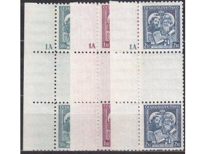 50h-2Kč Metoděj, kraj. meziarší s DČ 1A, Nr.292-4, * po nálepce