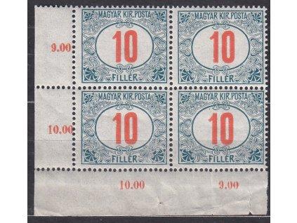 10f Doplatní - červené číslo, 4blok, zn. platná v ČSR, **, na okraji natrženo