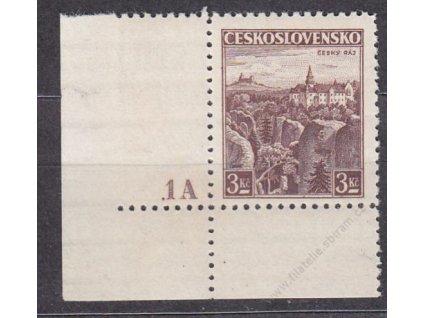 3Kč Český ráj, roh. kus s DČ 1A - široký okraj, II