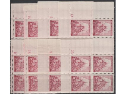 1939, 1K Praha, roh. 4bloky s DČ 1,1A,2,2A - úzký a široký okraj, Nr.31, **