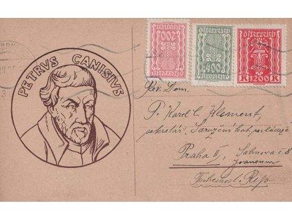 1925, DR Innsbruck, inflační karta s přítiskem, zasláno do Prahy