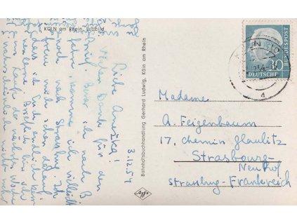 1954, DR Köln, pohlednice zaslaná do Francie