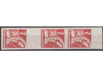 1945, 2K červená, svislé krajové meziarší, Nr.354, **, lom