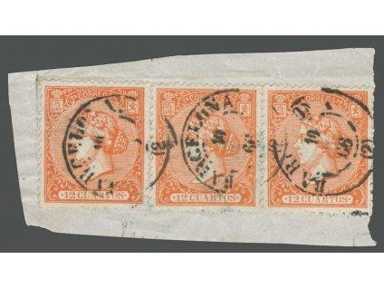 1866, 12C Isabella, MiNr.75, výstřižek, DR Barcelona