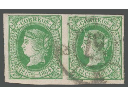 1864, 12 Cs Isabella, 2páska, MiNr.57, razítkované