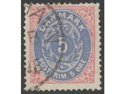 1875, 5Q růžová/modrá, MiNr.24, razítkované, lom v růžku