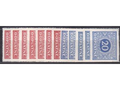 1928, 5h-20Kč série, Nr.DL55-66, * po nálepce, ilustrační foto