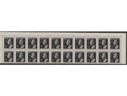 1943, 60h Heydrich, horní 20pás, 2krát DV - vajíčko, Nr.111, **, přeloženo v perforaci