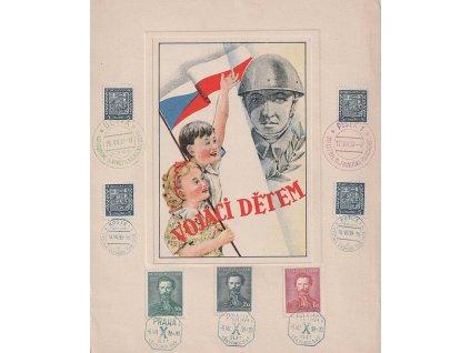 1938, Vojáci dětem, pamětní list se 7 razítky, A4, lehká omačkání