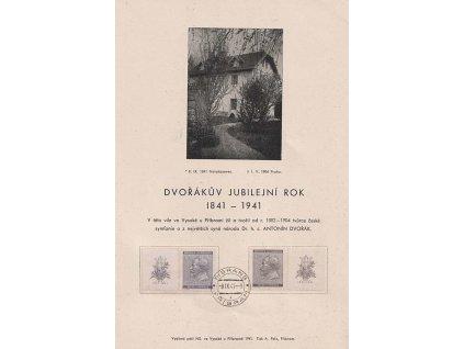 1941, Příbram, Dvořákův jubilejní rok, pamětní list, A5