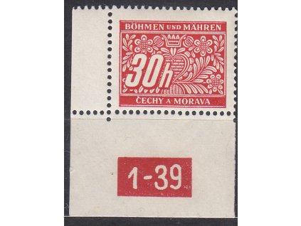 30h červená, levý roh. kus s DČ 1-39 varianta X, **