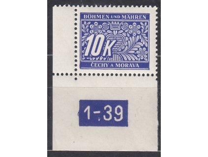 10K modrá, levý roh. kus s DČ 1-39, var. X, Nr.DL13, **