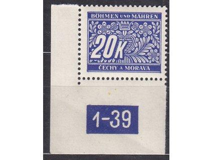 20K modrá, levý roh. kus s DČ 1-39, var. Y, Nr.DL14, **