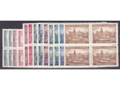1939, 40h-20K Krajiny, série, 4bloky, Nr.28-40, **