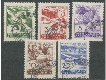1950, 2-20 Din letecká série, MiNr.611-15, razítkované