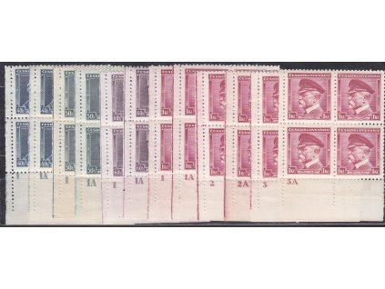 1935, 40h-1Kč série Osobnosti, roh. 4bloky s DČ, kompletní sestava, Nr.300-3, **