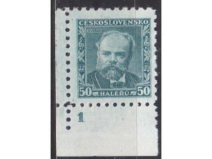 1934, 50h Dvořák, roh. kus s DČ1 - lep bez pruhů, Nr.280, * po nálepce, dv