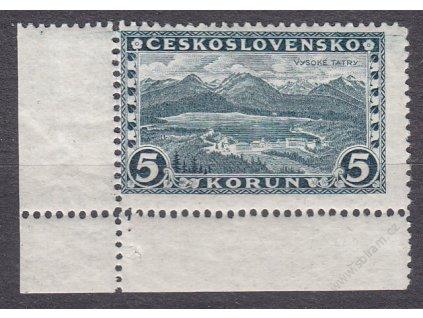 5Kč Praha, roh. kus s DČ 1, Nr.232, **, vada - výrazně natrženo ve svislé perforaci