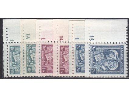 50h-2Kč Metoděj, roh. kusy s DČ 1,1A - úzký okraj, Nr.292-4, * po nálepce