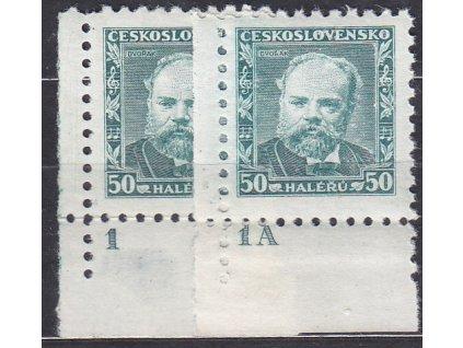 1934, 50h Dvořák, 2 roh. kus s DČ1,1A, Nr.280, **/*