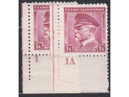 1939, 1K Masaryk, 2 roh. kusy s DČ 1 a 1A, Nr.352, **